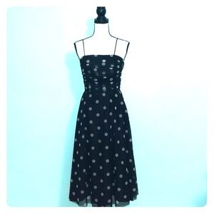 Polka dot black white formal a line dress knee